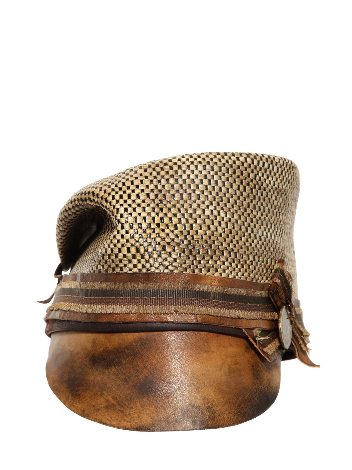 Lyst - Move Cotton Canvas   Leather Military Hat in Natural for Men 50b238bfd38