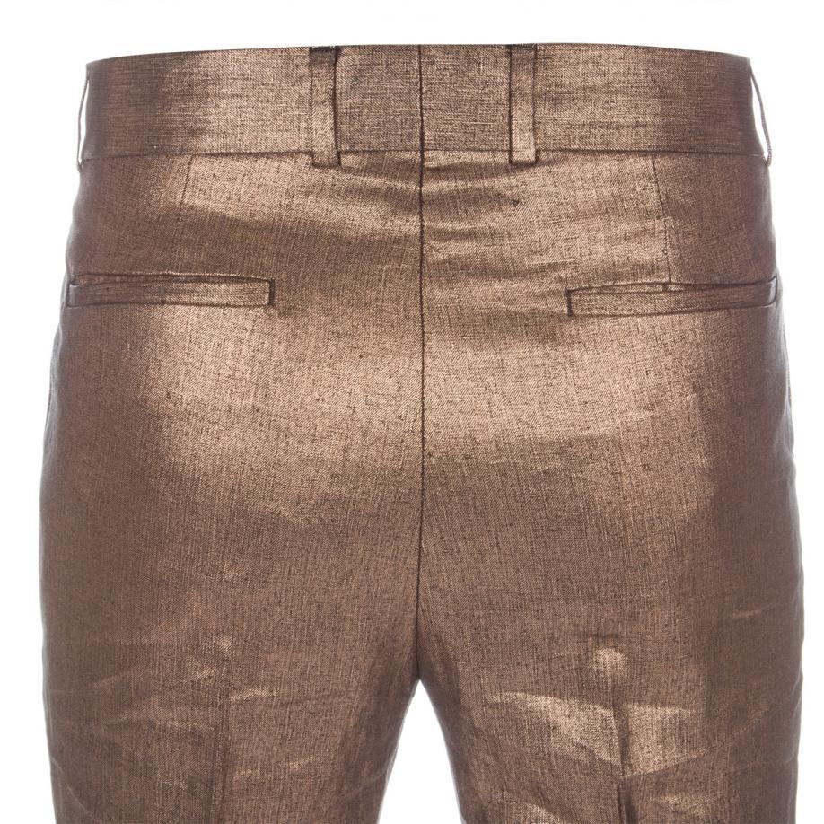 Paul Smith Men S Metallic Bronze Coated Linen Trousers In