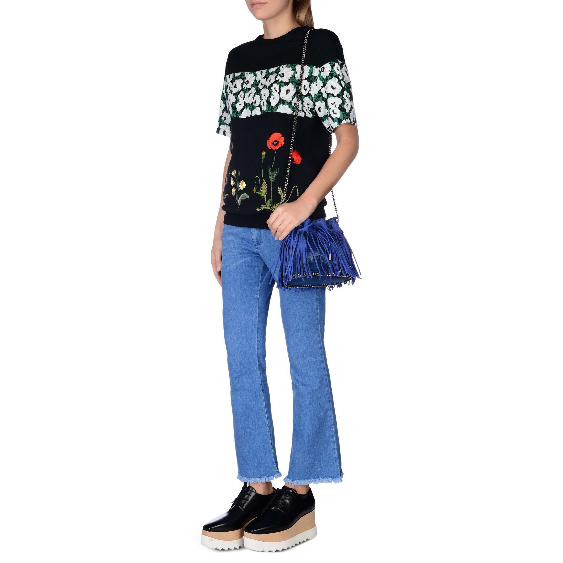 c779fe5071 Lyst - Stella McCartney Falabella Bluebird Fringed Bucket Bag in Blue