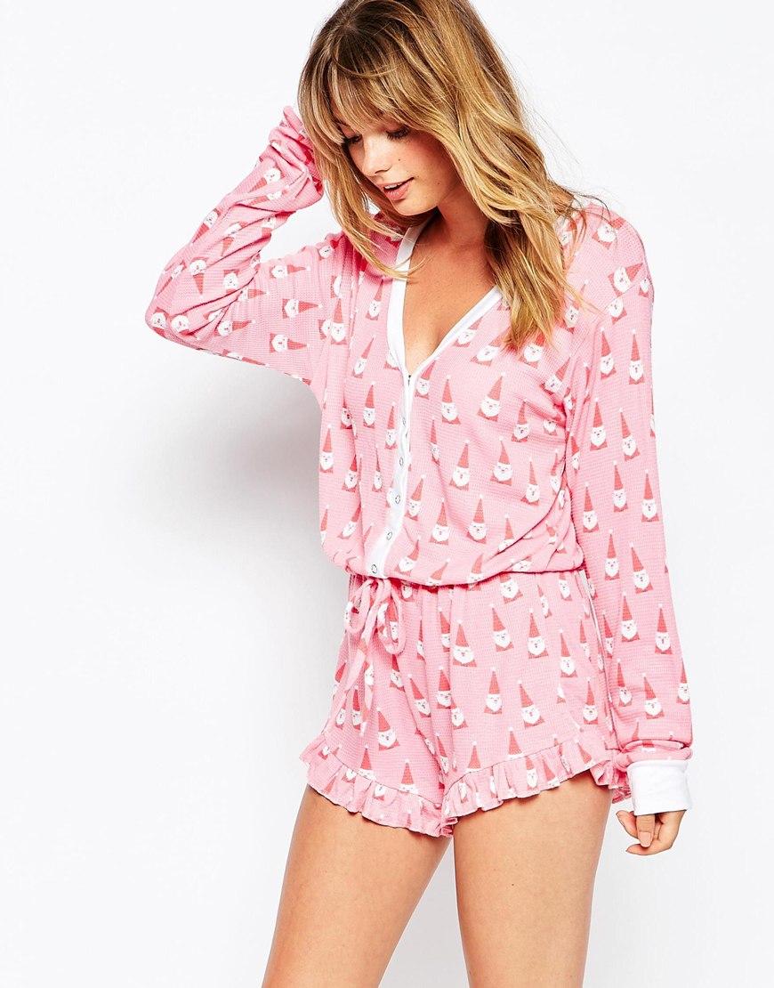 Wildfox Christmas Pajamas.Wildfox Christmas Santa Gnomes Romper In Pink Lyst