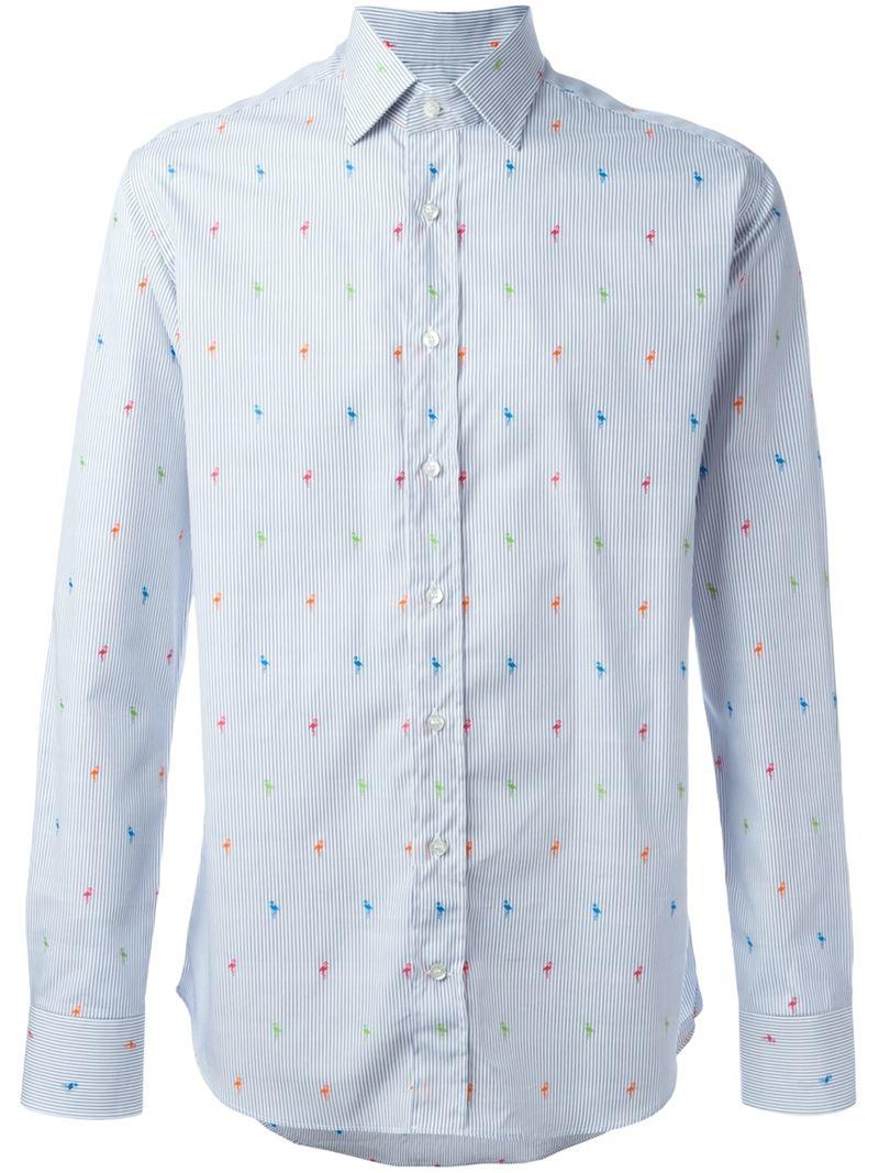 Lyst etro flamingo print shirt in blue for men for Etro men s shirts