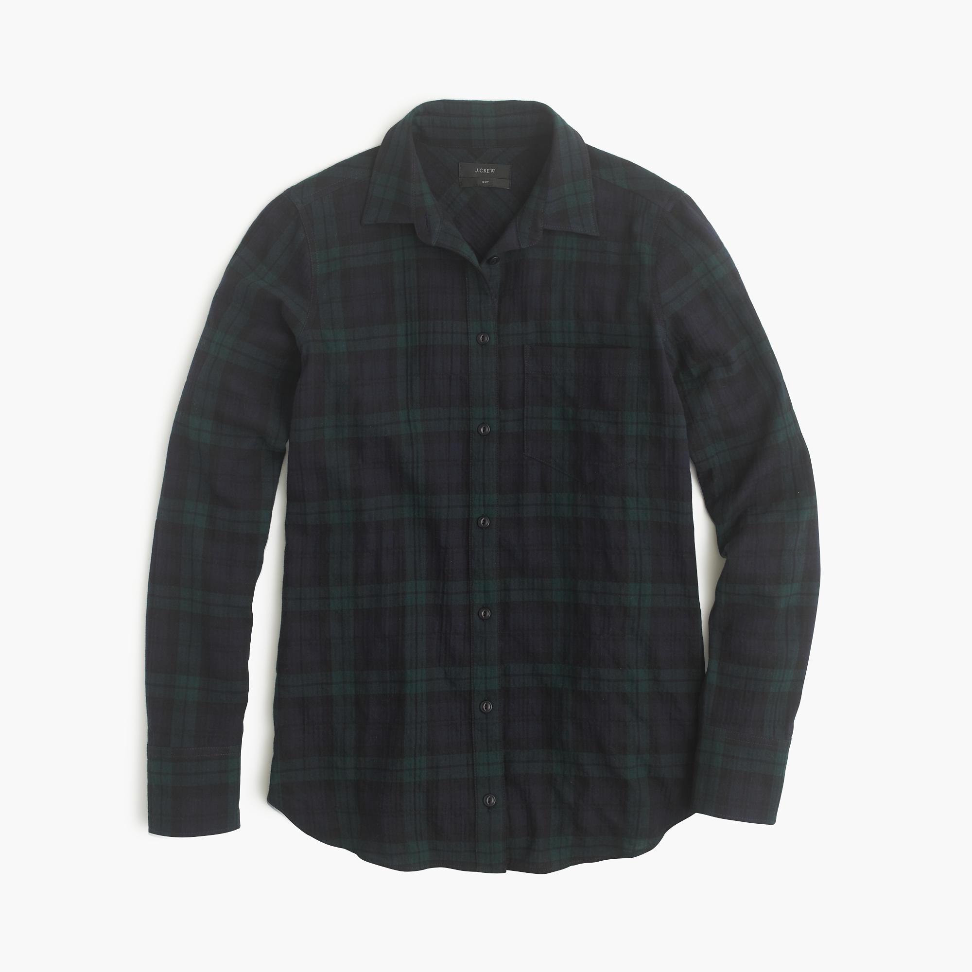 Boy shirt in black watch flannel for men lyst for Black watch flannel shirt