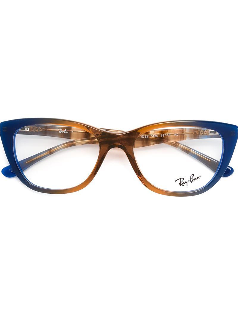 ray ban cat eye frame glasses in blue brown lyst. Black Bedroom Furniture Sets. Home Design Ideas