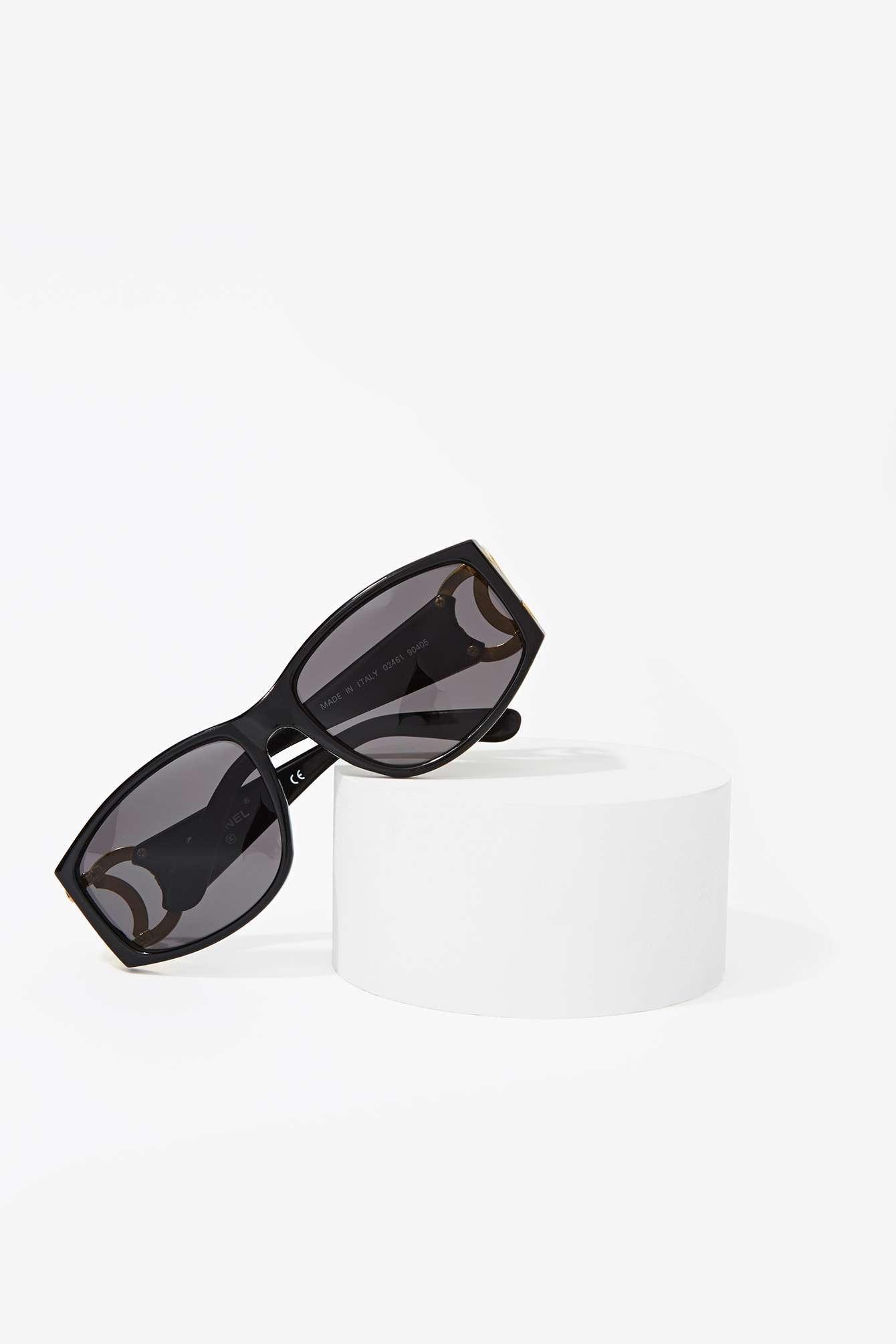15218296cd Nasty Gal Vintage Chanel Logo Cutout Sunglasses in Black - Lyst
