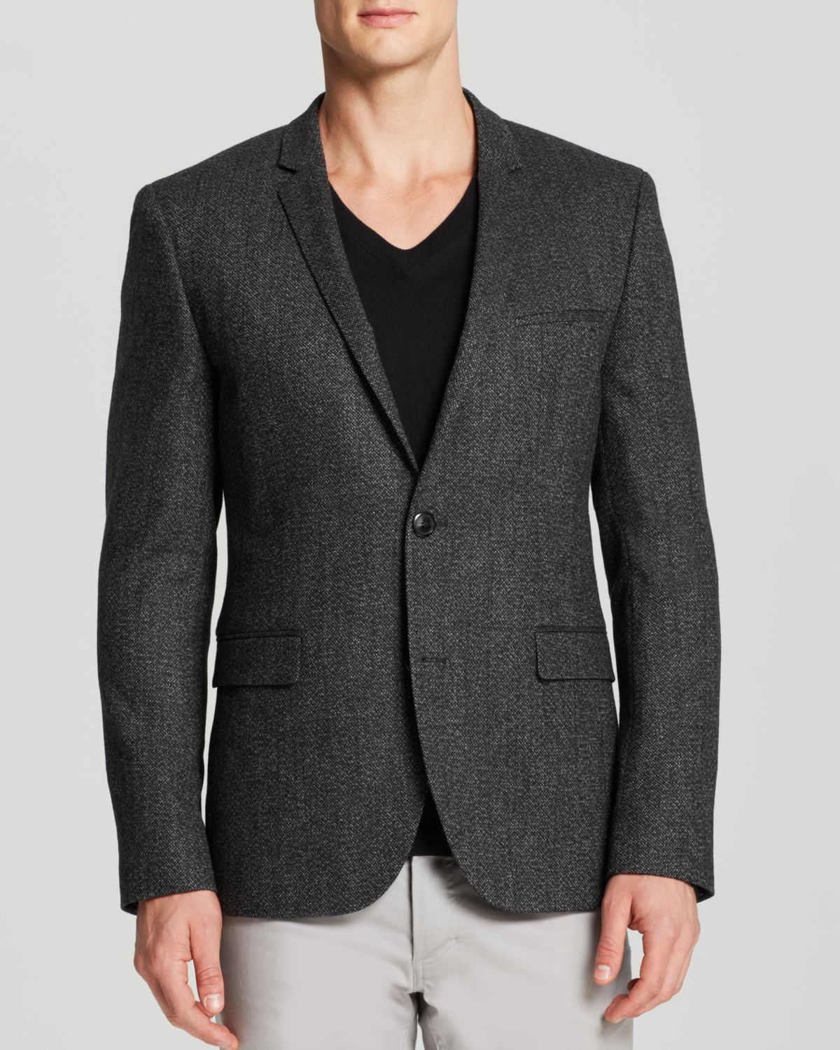 hugo boss hugo adris sport coat in gray for men charcoal. Black Bedroom Furniture Sets. Home Design Ideas