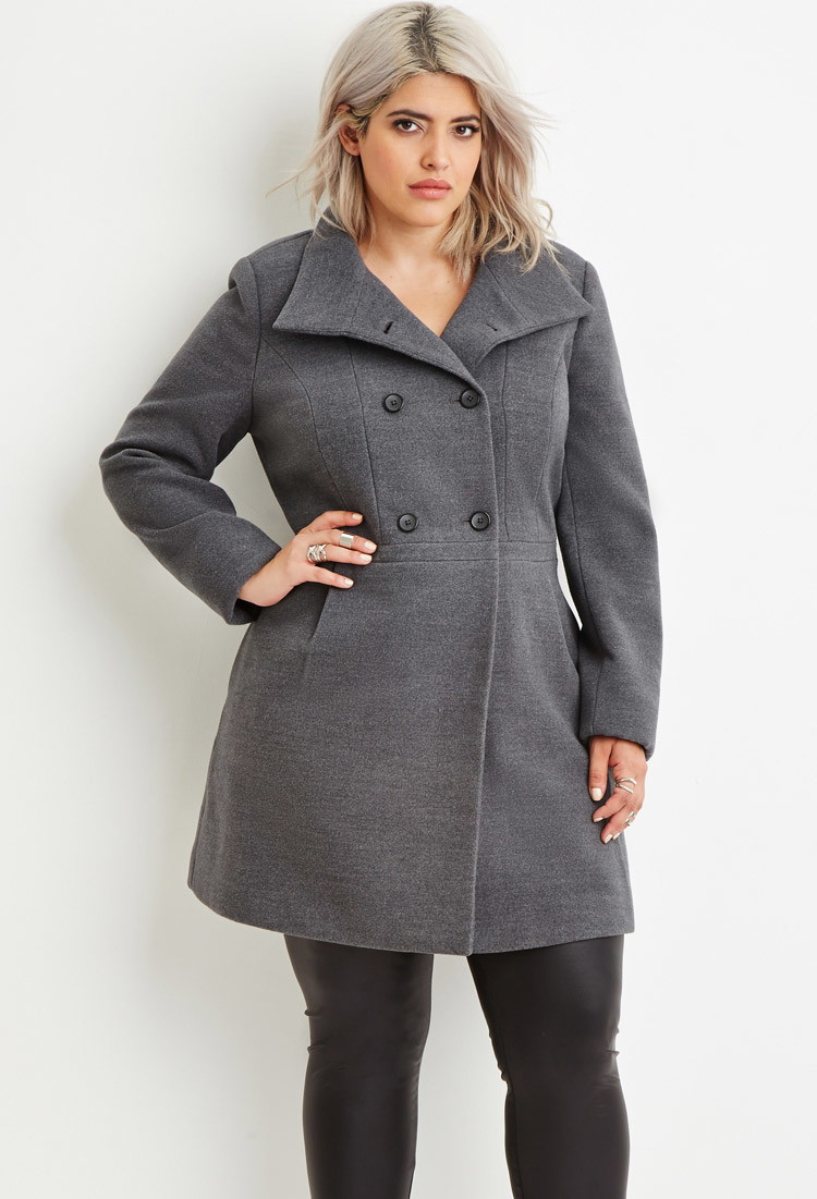 Forever 21 Plus Size Double-breasted Pea Coat in Gray | Lyst
