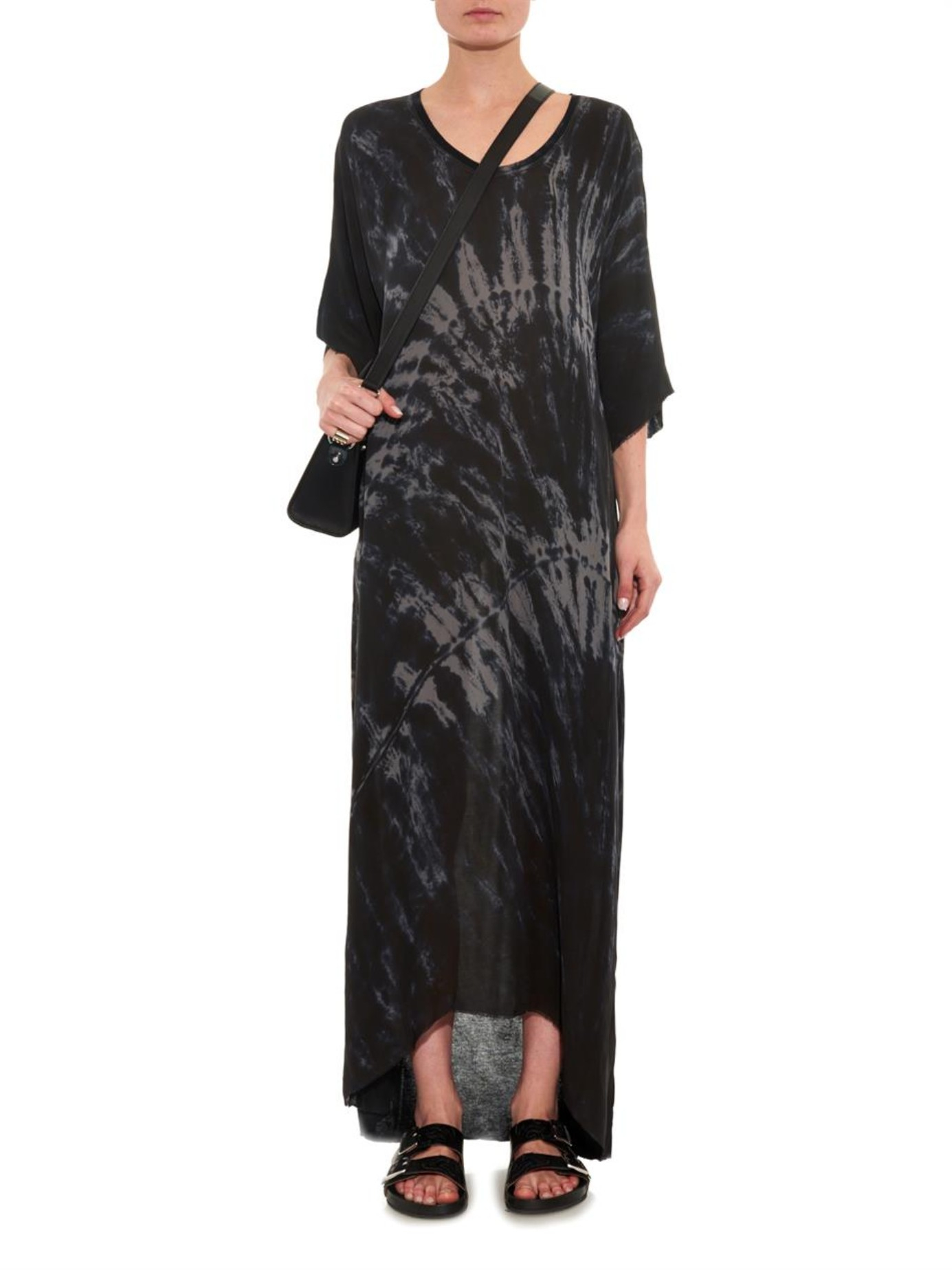 Lyst Raquel Allegra Tie Dye Silk And Jersey Maxi Dress