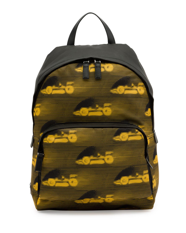 7c39bb2767a2 ... france inexpensive lyst prada car print leather backpack in black for  men 3b68a b5167 sweden prada