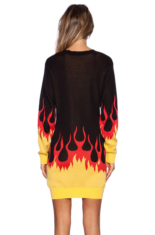 Love Moschino Flame Hem Sweater Dress In Black Lyst