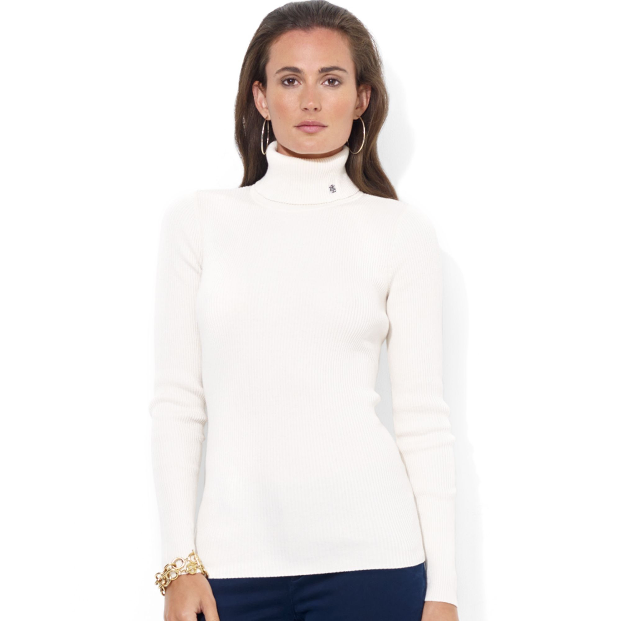 Lauren by ralph lauren Longsleeve Ribbed Turtleneck in White | Lyst