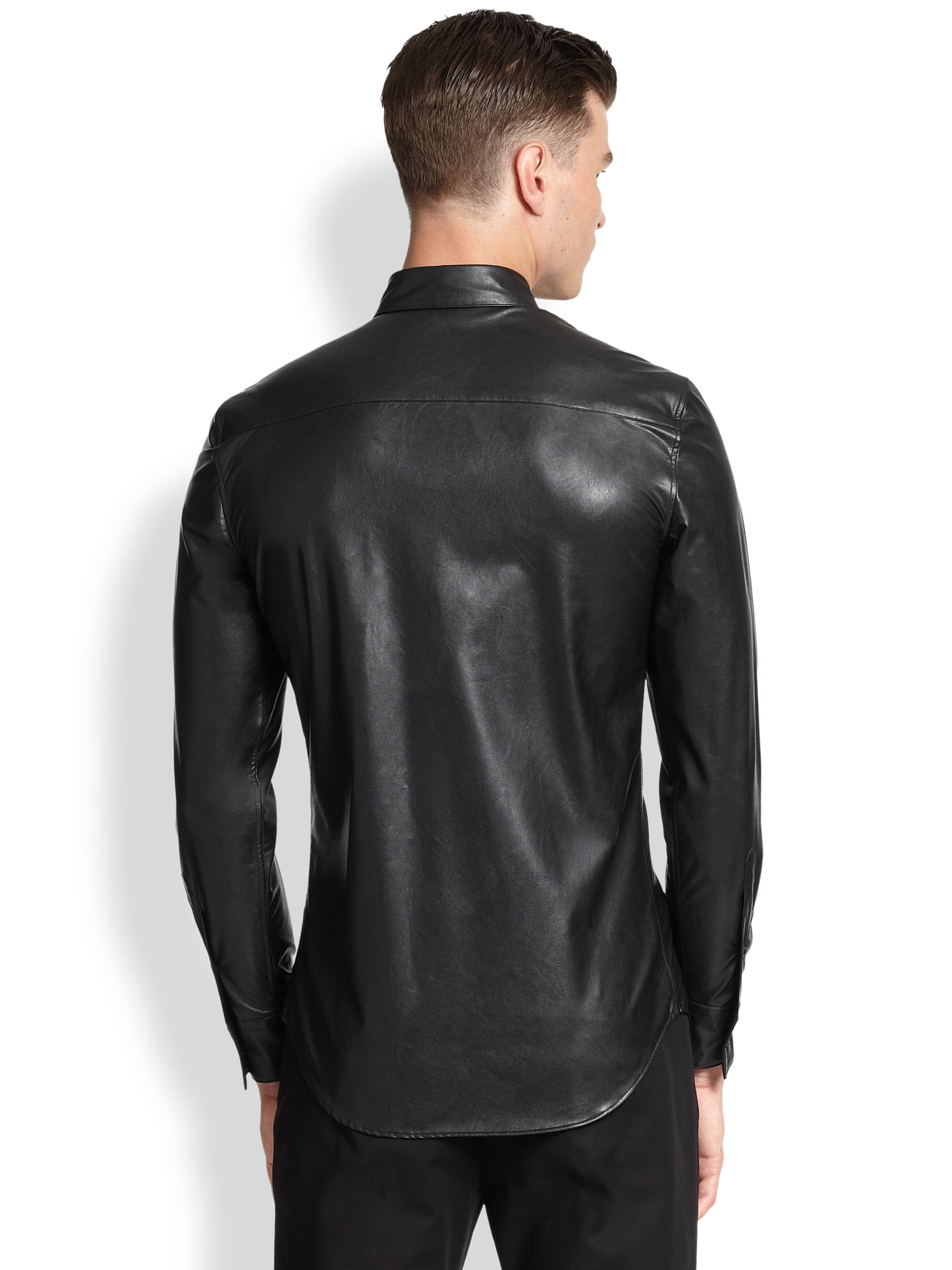 lyst emporio armani faux leather sportshirt in black for men