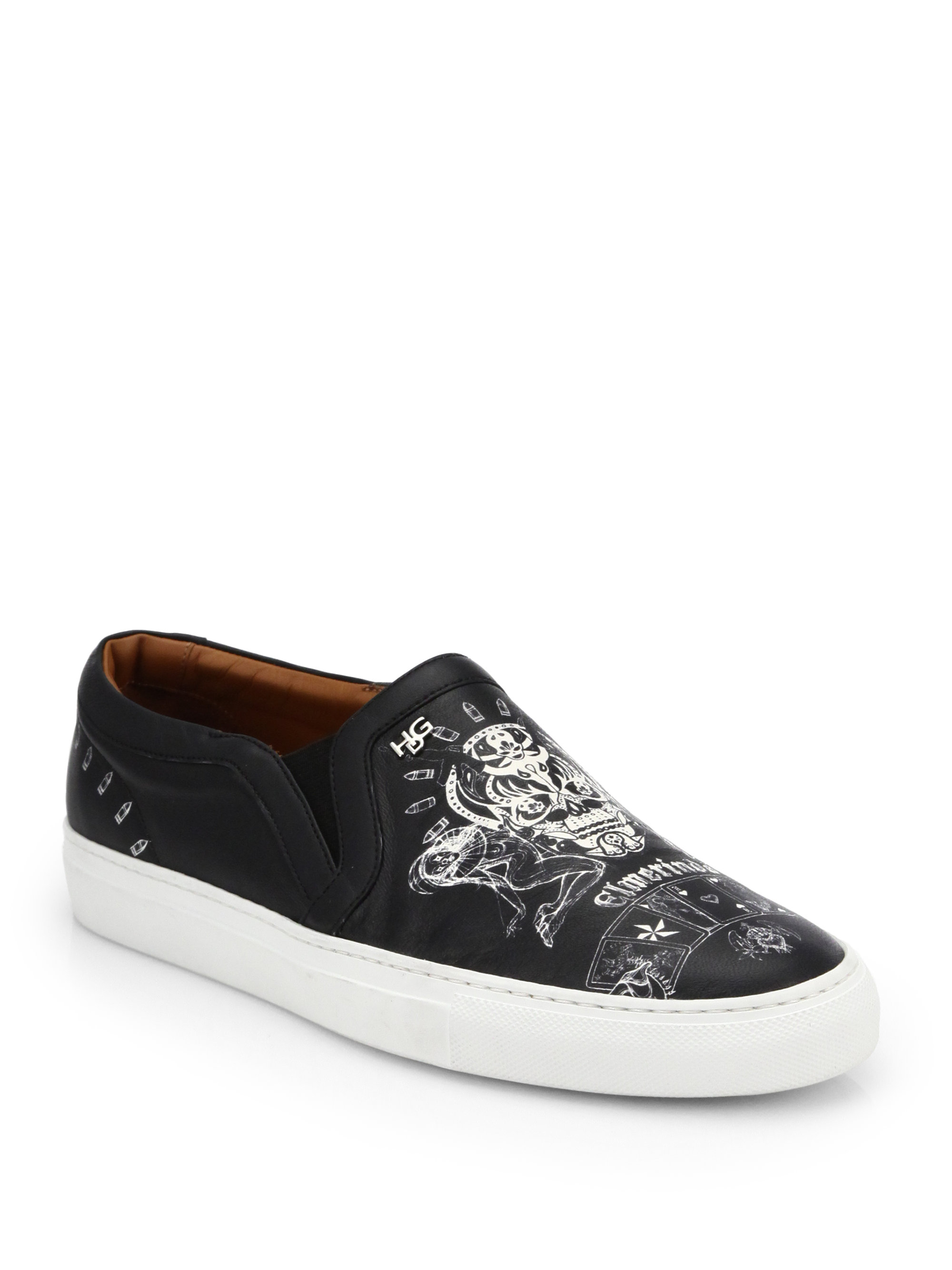 Givenchy Skull Printed Leather Skate Sneakers In Black For
