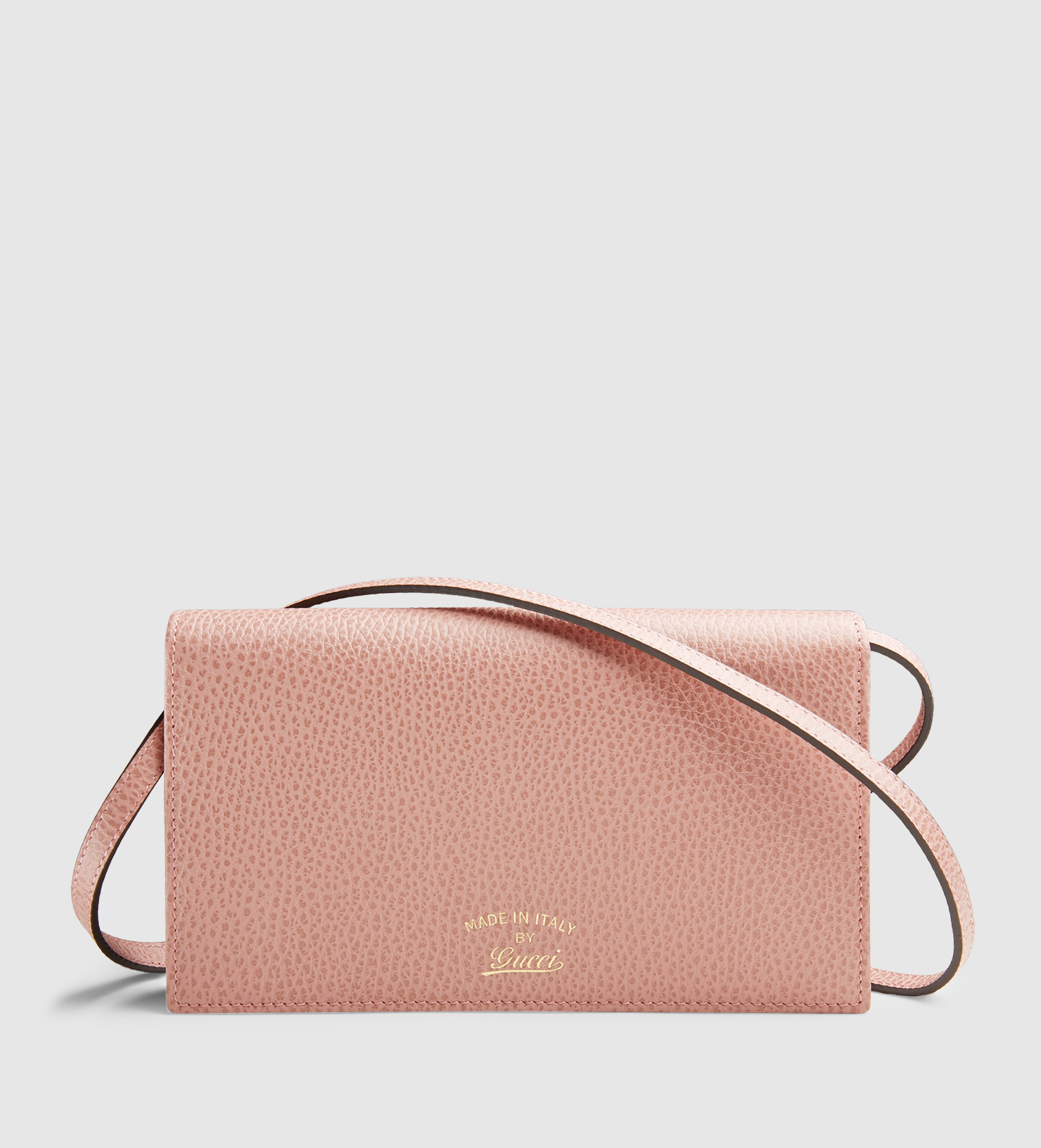 3709d75befe Gucci Swing Leather Wallet With Strap in Pink - Lyst