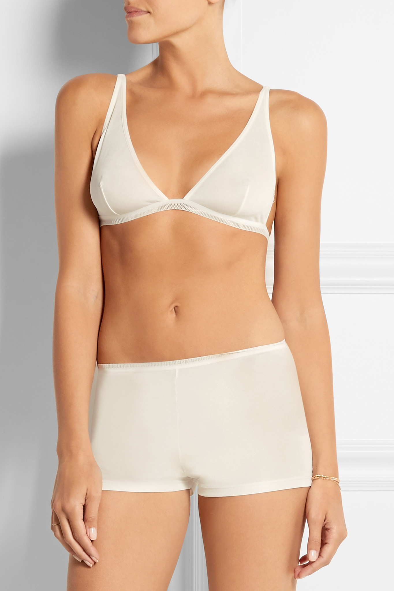7169ddd5e4 Baserange Silk-jersey Soft-cup Triangle Bra in White - Lyst