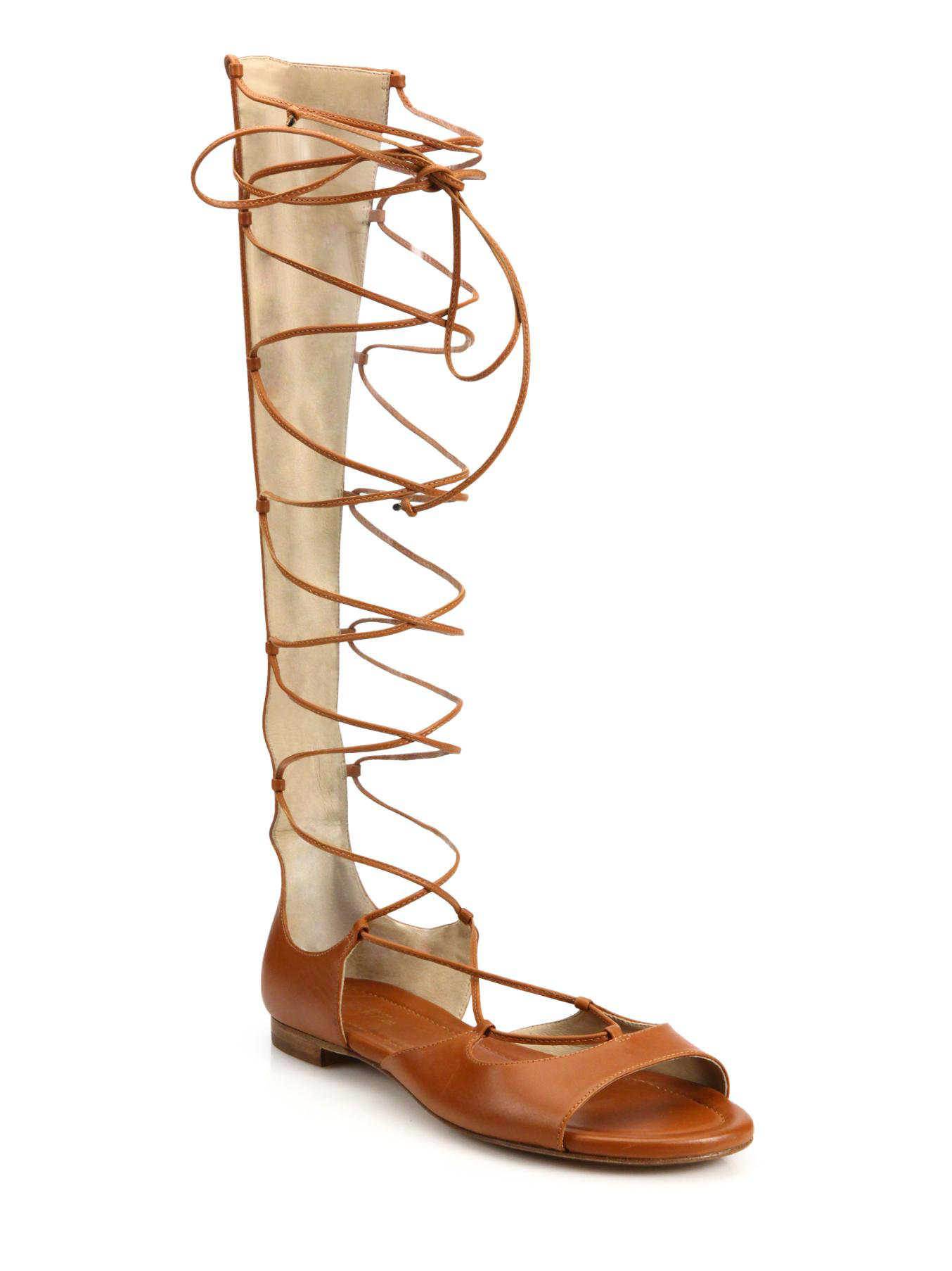 46bf7865e7cc Lyst - Michael Kors Birdie Leather Lace-up Gladiator Sandals in Brown
