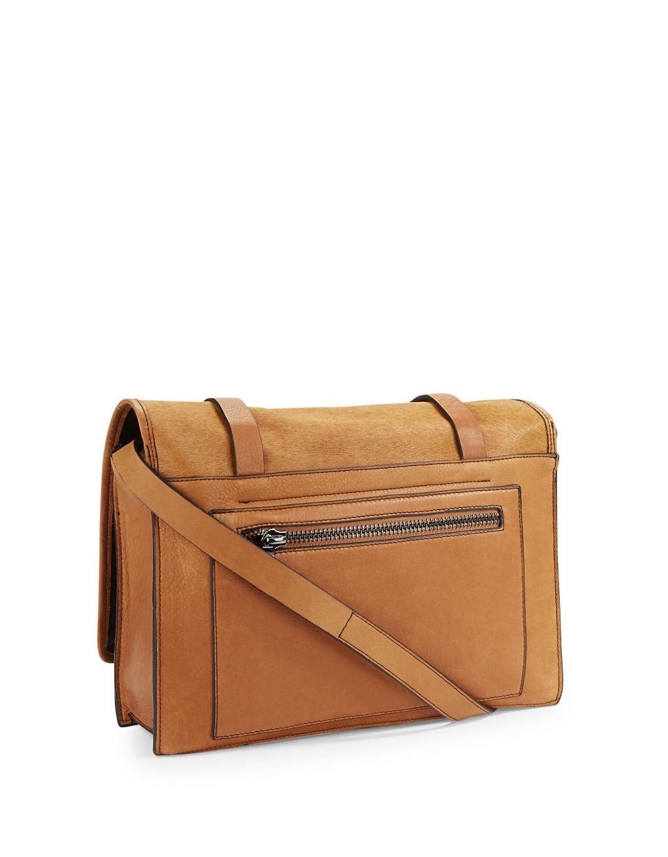 Embellished Tan Calf Leather Messenger Bag vuZSz