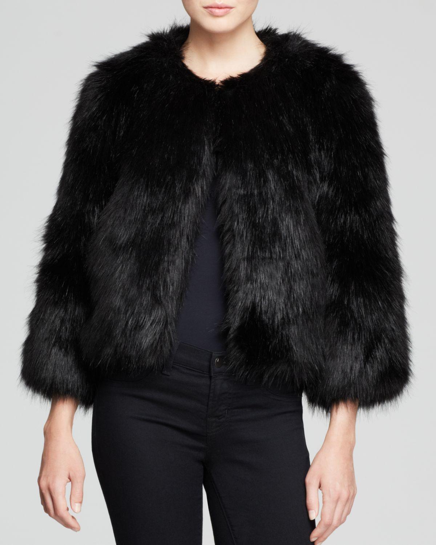 Dkny Faux Fur Cropped Jacket in Black | Lyst