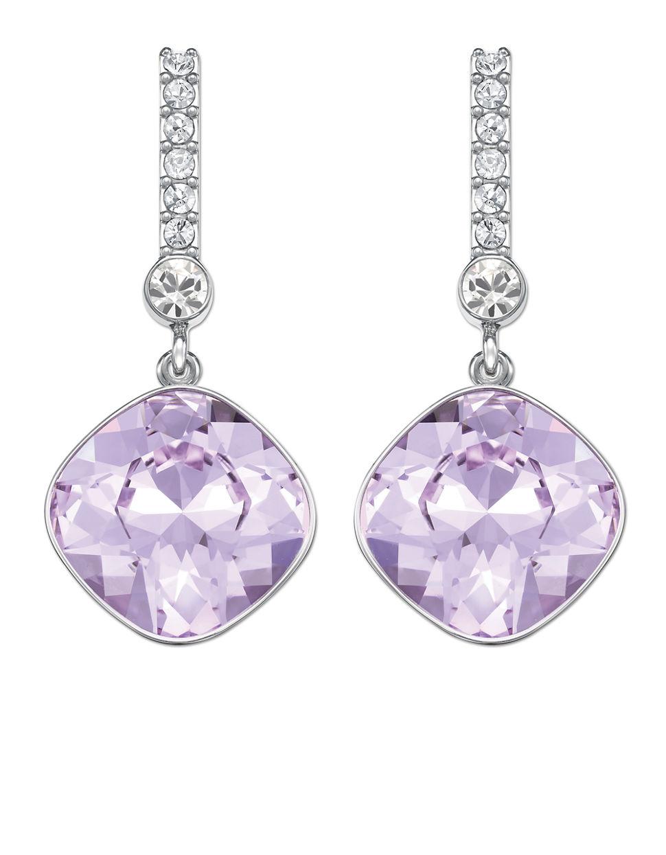 Swarovski Artisan Silvertone And Lilac Crystal Drop