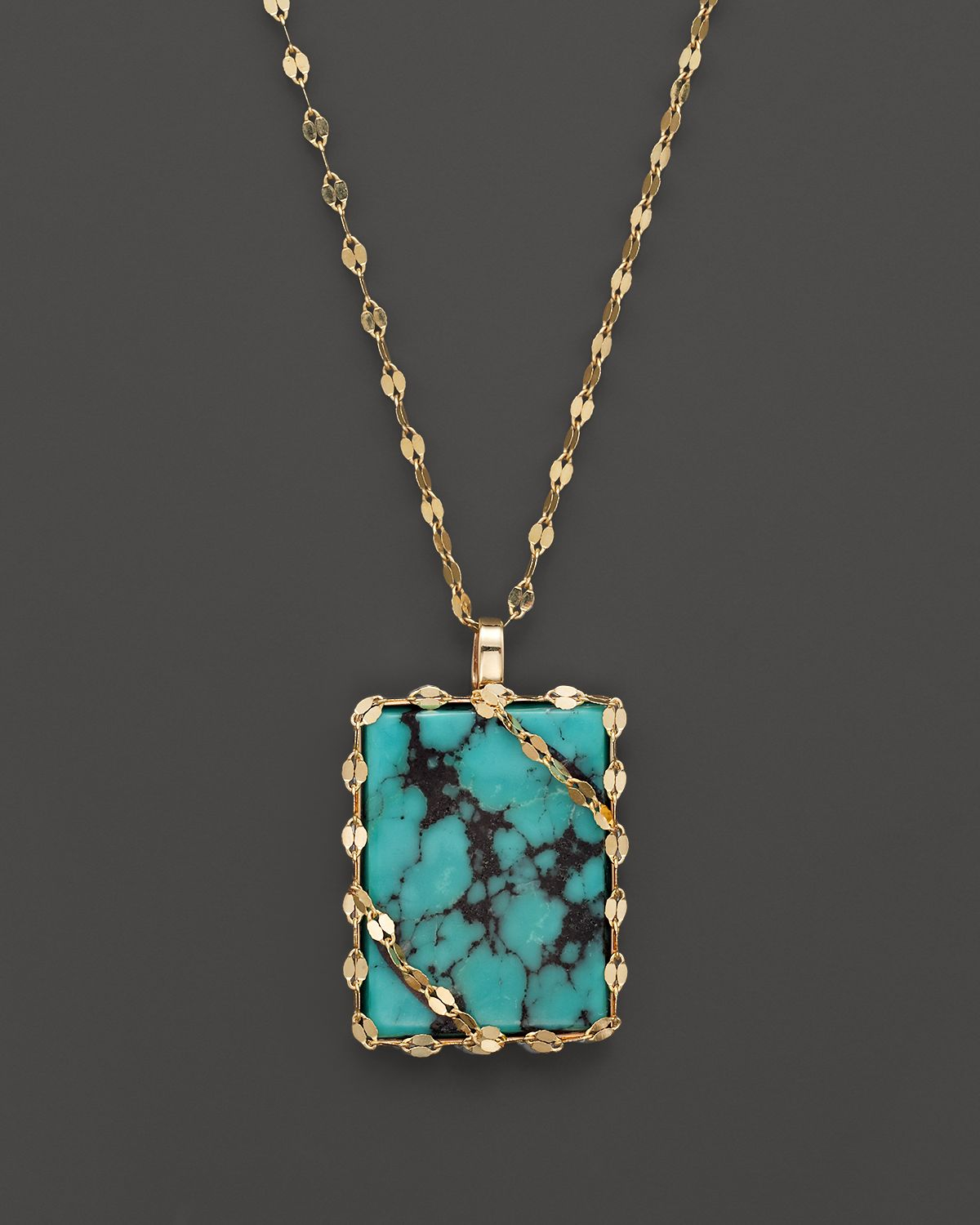 Lyst lana jewelry 14k gold turquoise pendant necklace 18 in metallic gallery audiocablefo