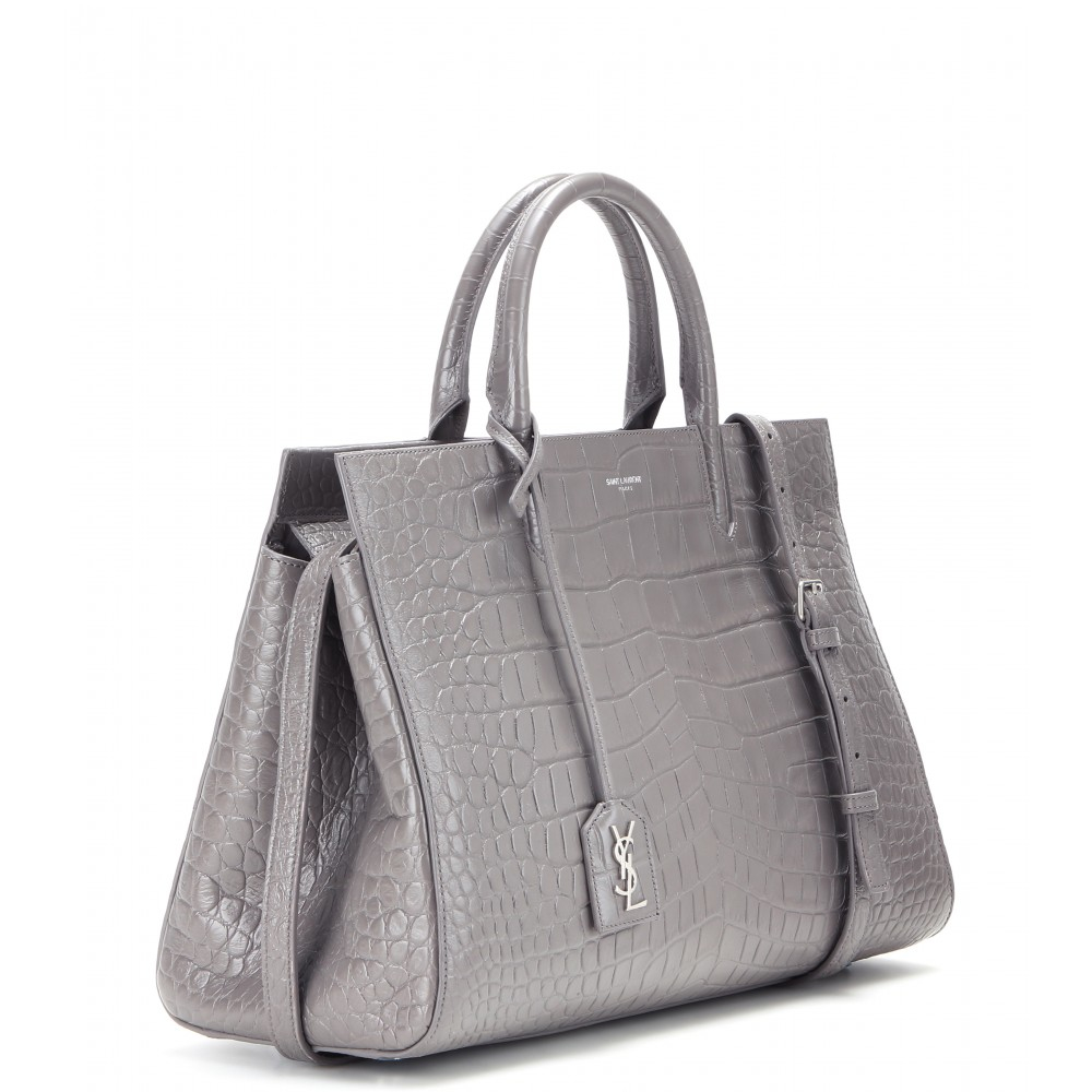 c7ecea6971 small cabas rive gauche bag in black crocodile embossed leather