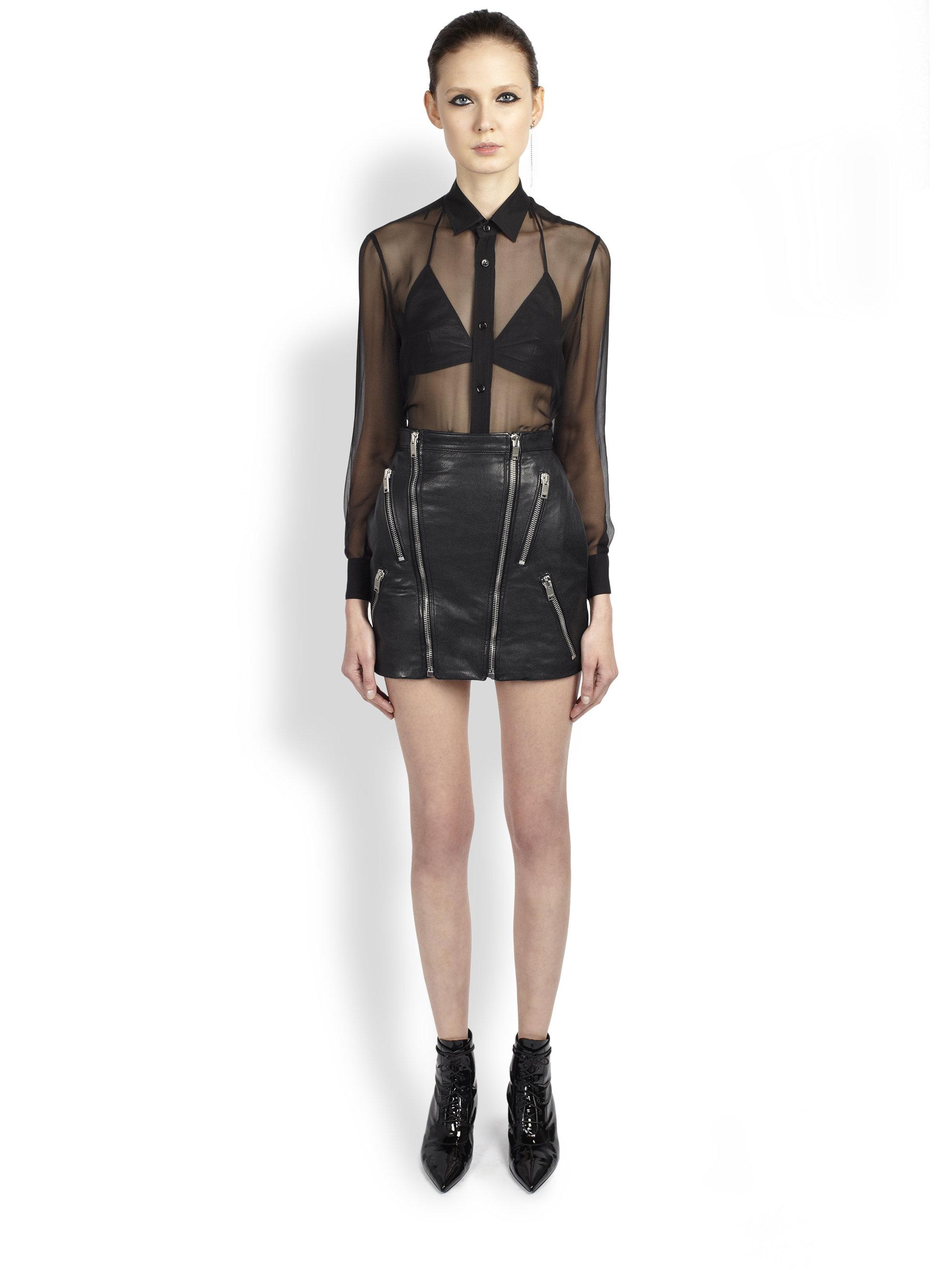 Saint laurent Leather Zipper Detail Skirt in Black | Lyst