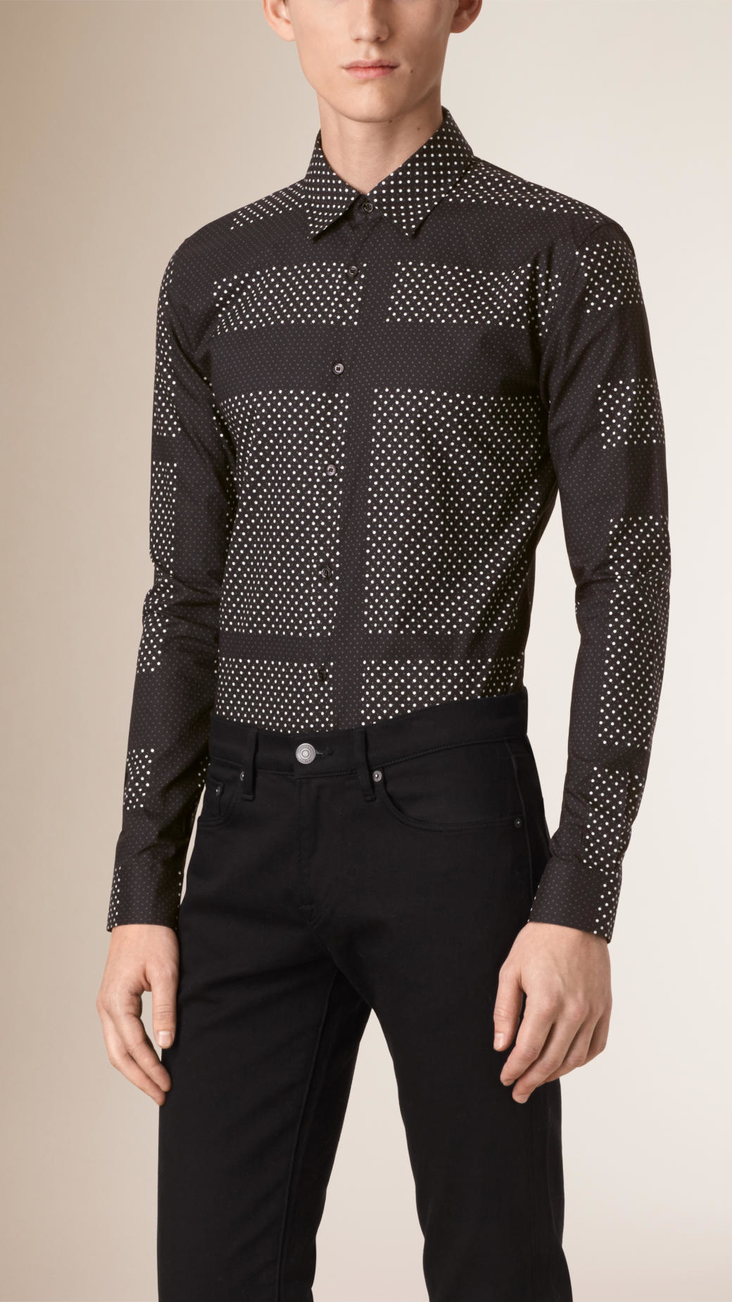 Lyst burberry slim fit polka dot check cotton shirt for Slim fit polka dot shirt