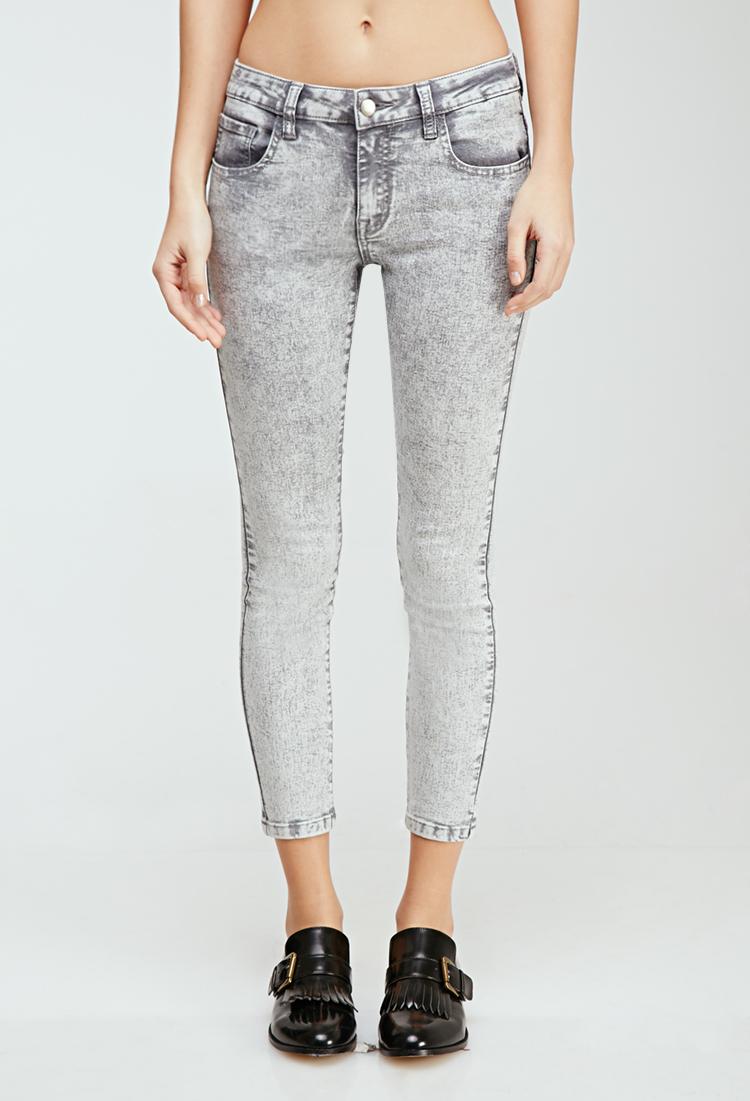 Cheap High Waisted Acid Wash Jeans - Jeans Am