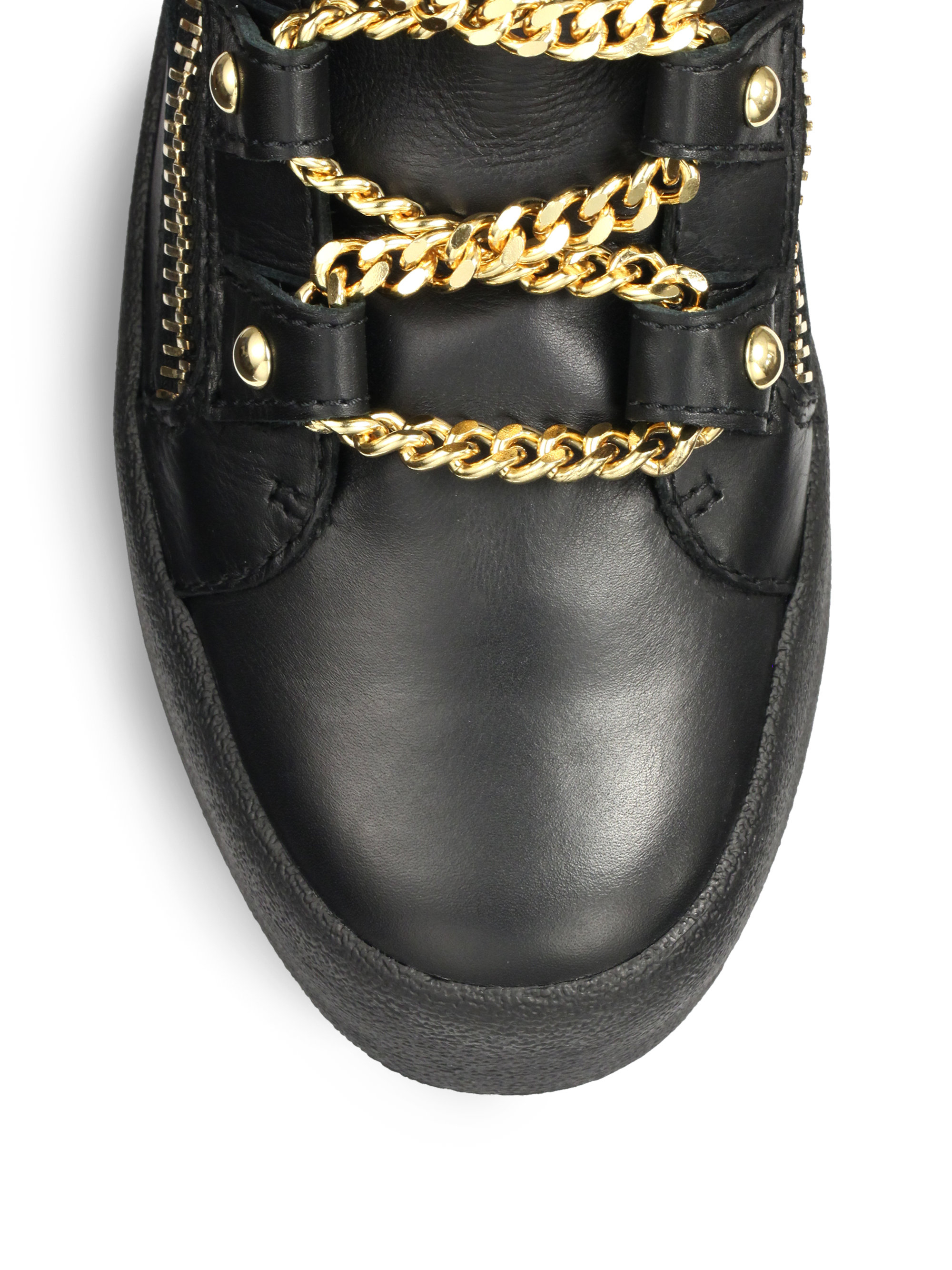 Lyst Giuseppe Zanotti Leather Chain Lace Detailed High