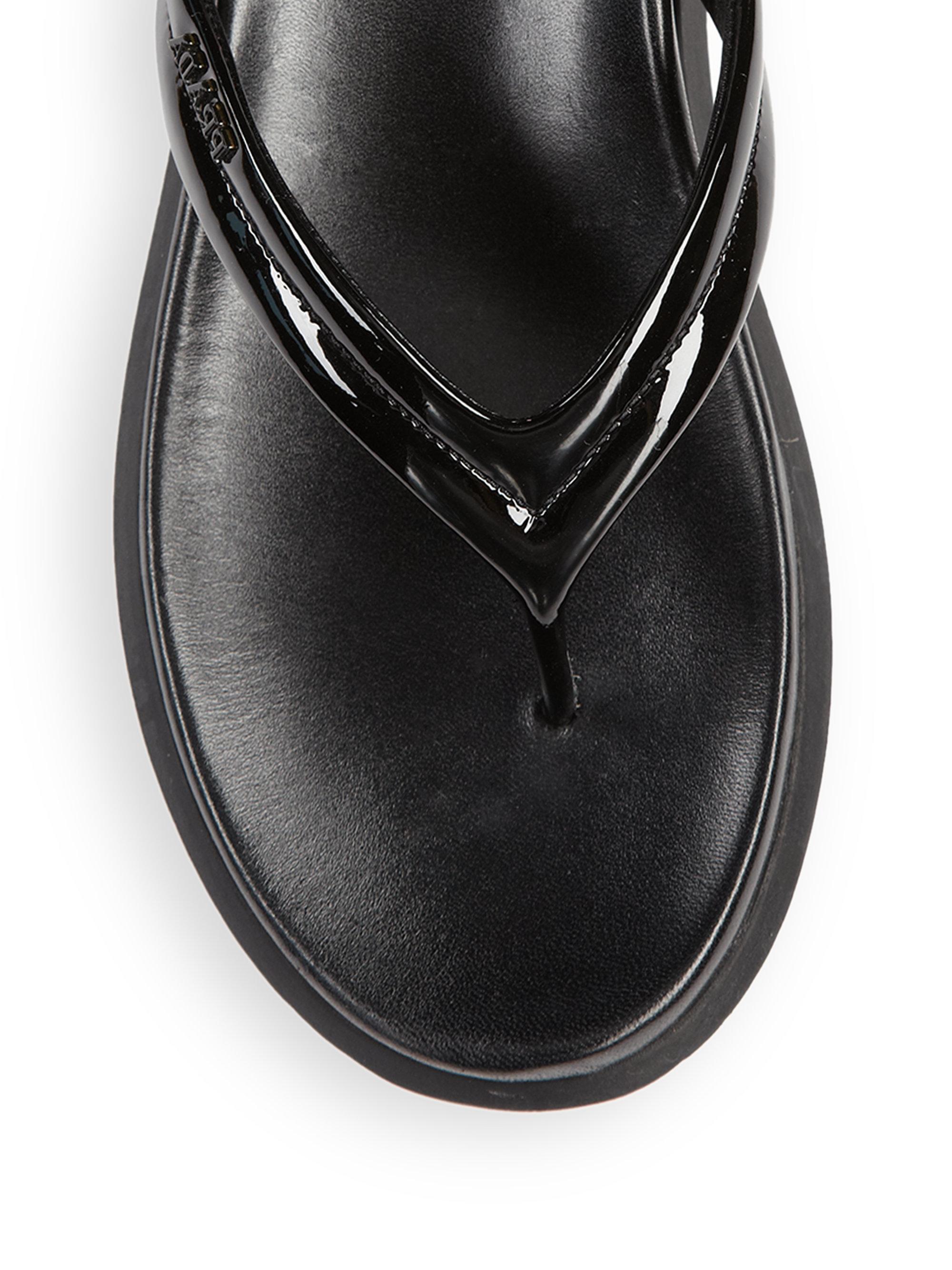 ecbe80d89 prada leather flip flops prada designer bags - Prada Patent Leather Flip  Flops in Black