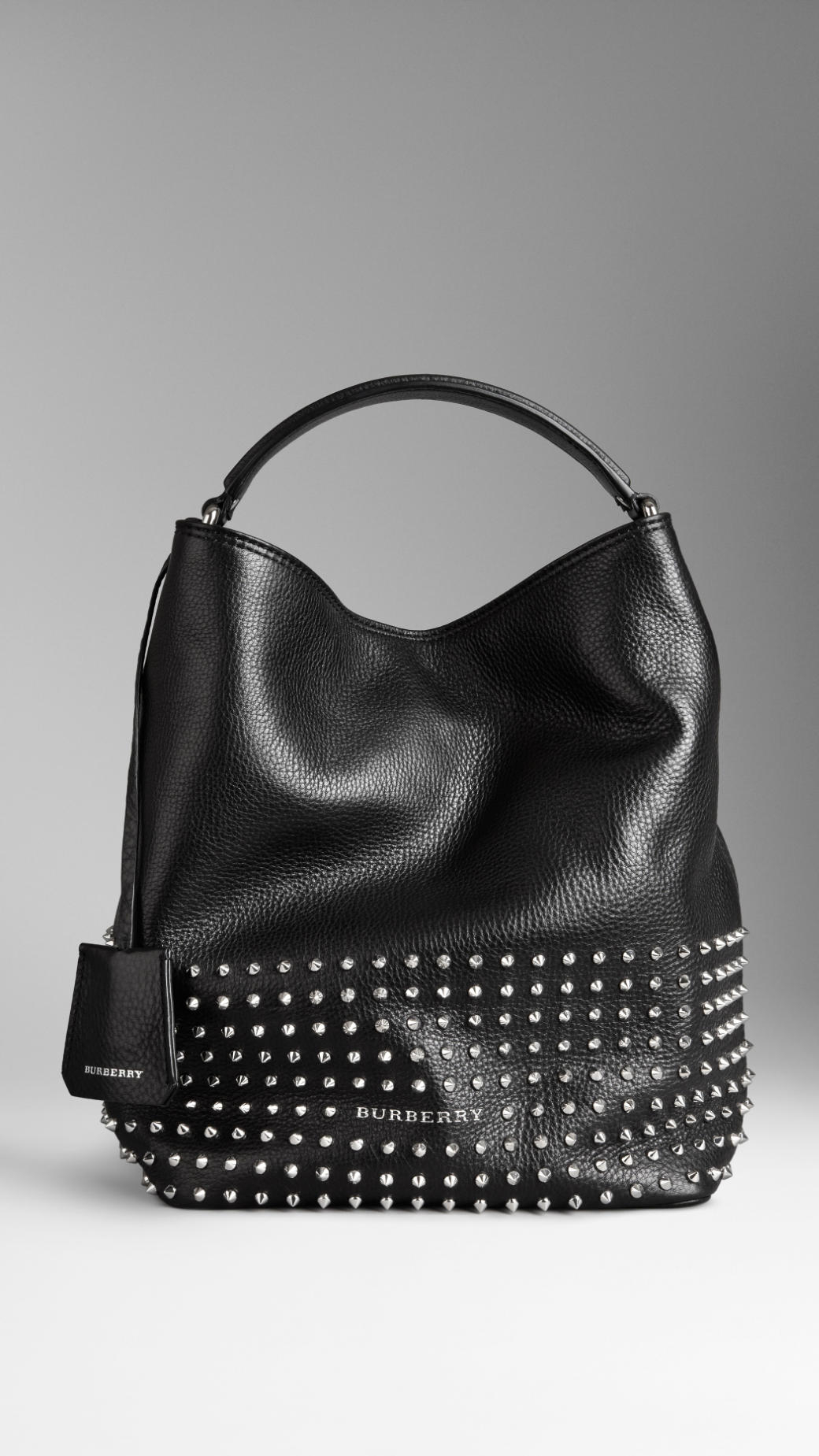 Burberry Medium Studded Leather Hobo Bag In Black Lyst