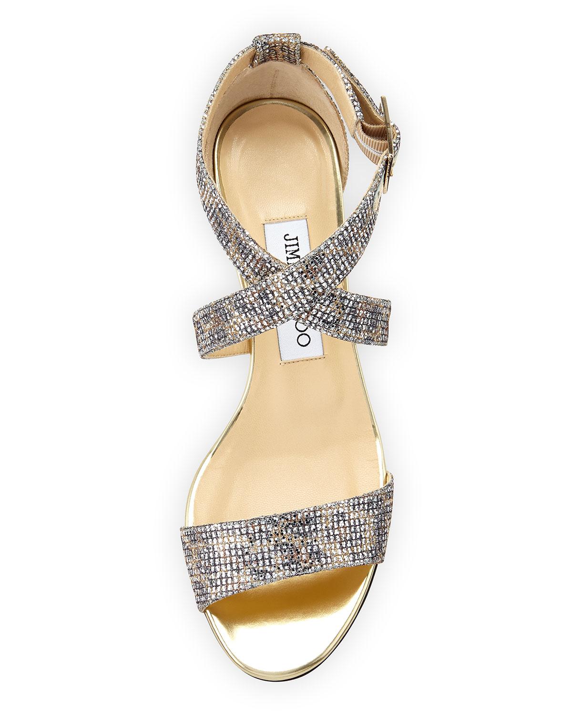 325b855ecab8 Lyst - Jimmy Choo Chiara Glitter Demi-Wedge Sandal in Metallic