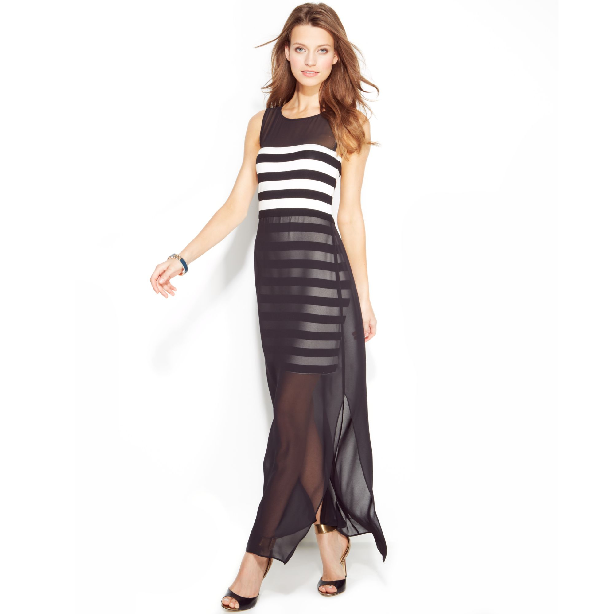vince camuto striped chiffon overlay maxi dress in white