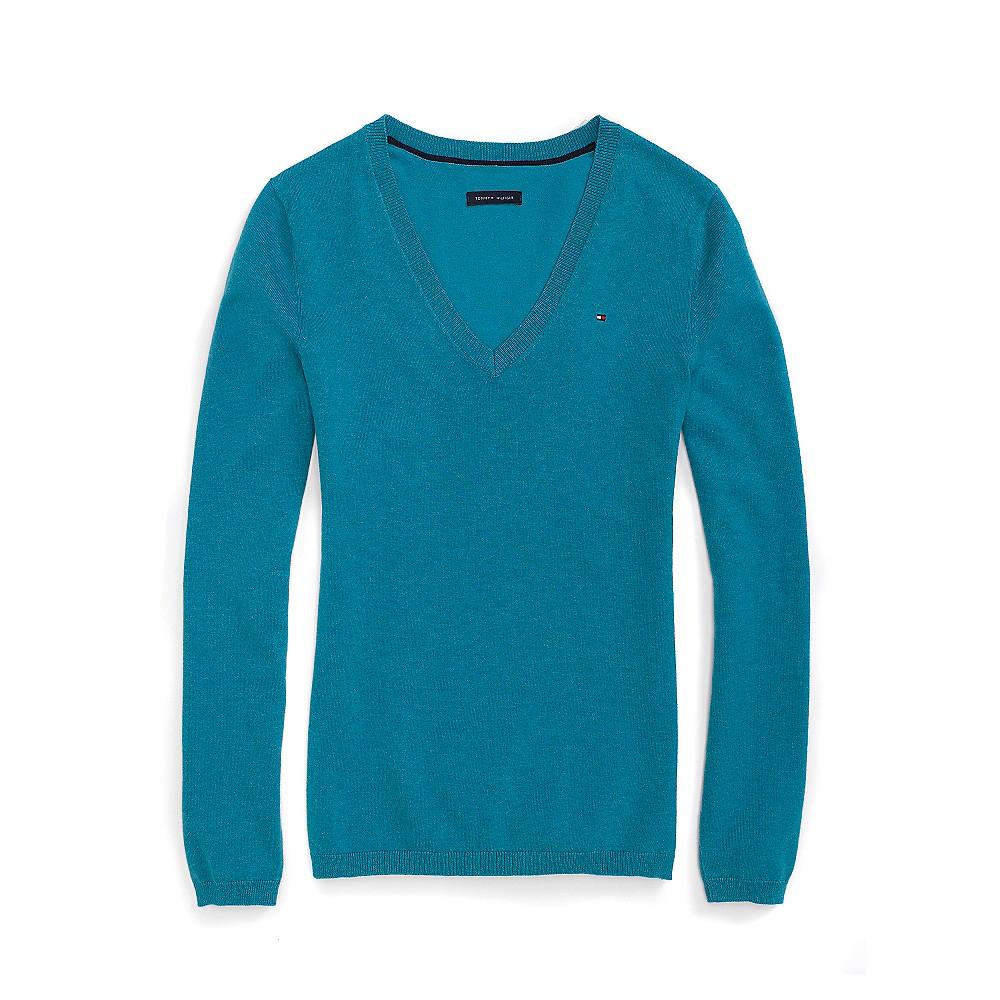 tommy hilfiger classic v neck sweater in blue deep. Black Bedroom Furniture Sets. Home Design Ideas