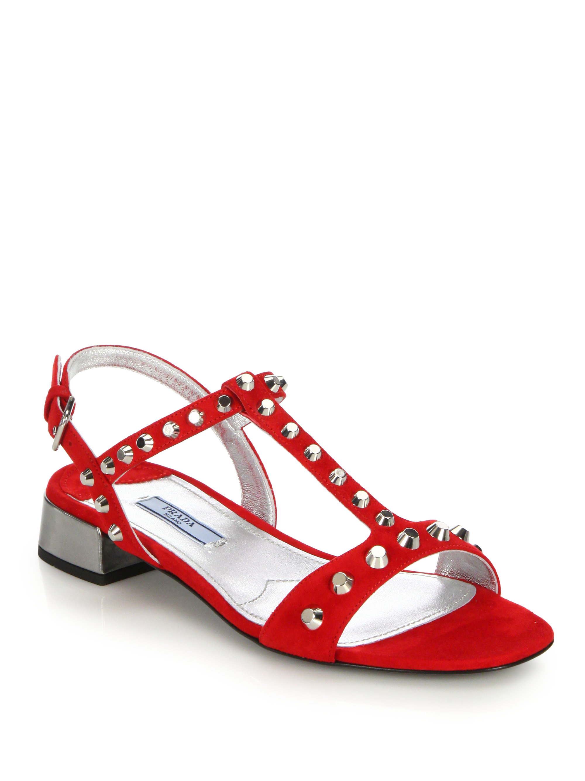 Lyst Prada Studded Suede Sandals In Red