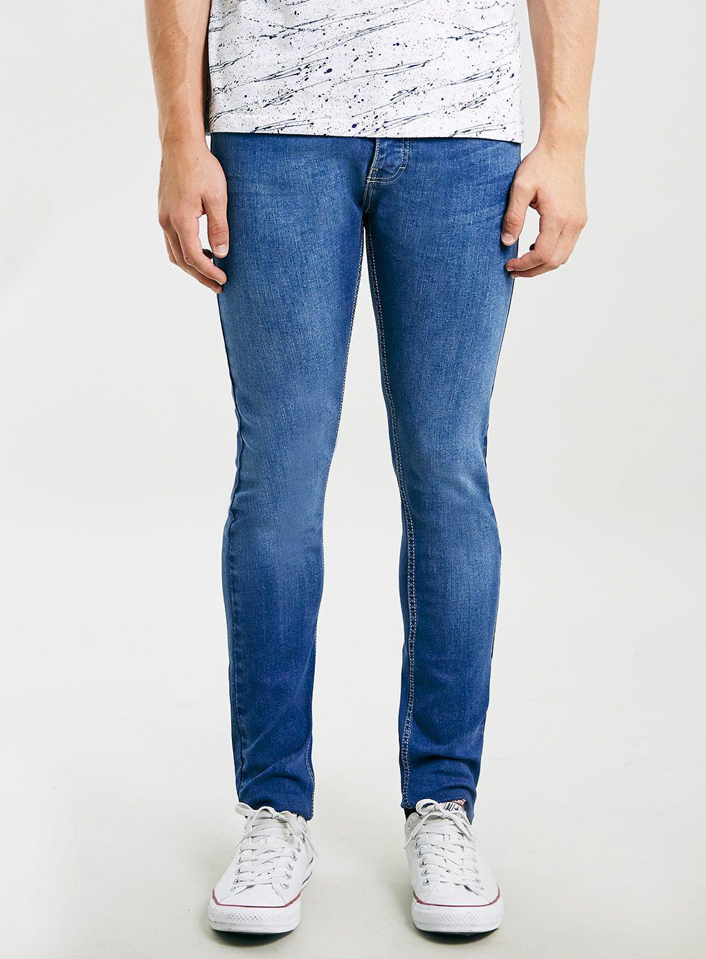 Mid bright blue stretch skinny jeans