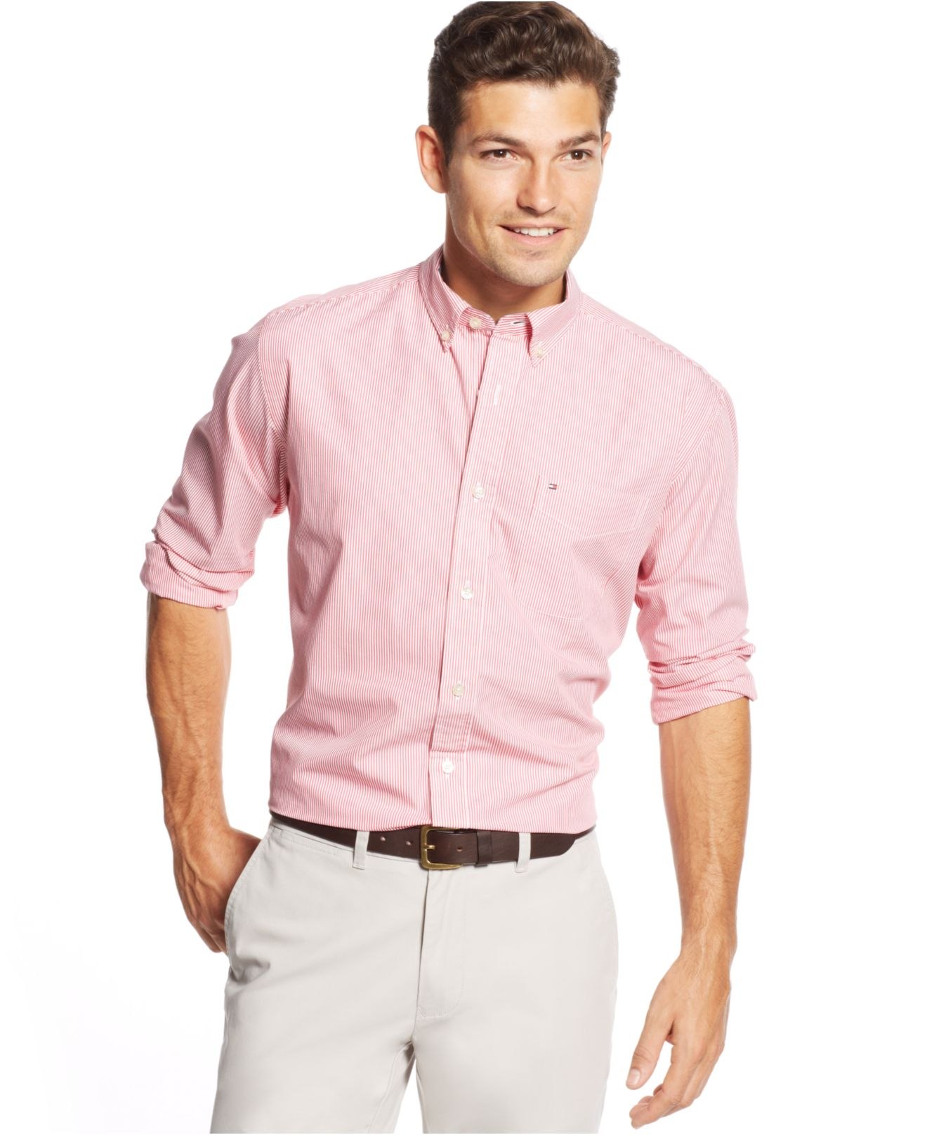 56c550e0 Tommy Hilfiger Fitzgerald Striped Classic-Fit Shirt in Pink for Men ...