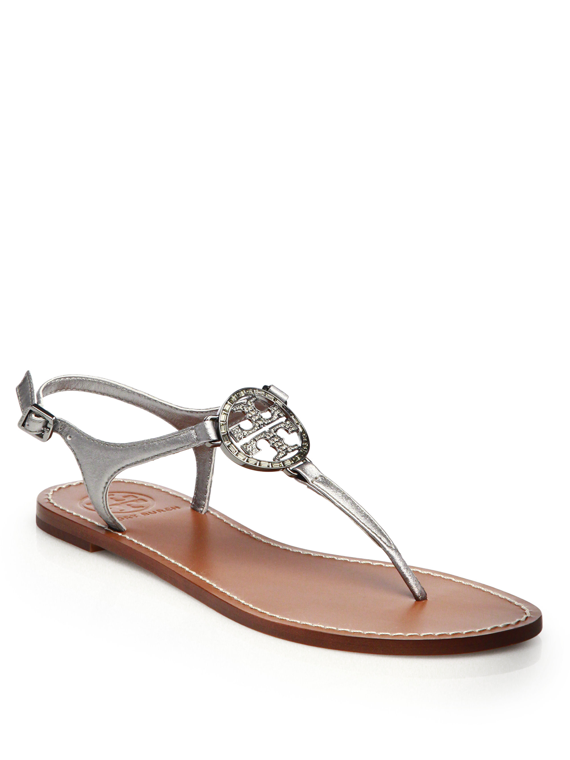 baf95fce88be Tory Burch Violet Metallic Leather Thong Sandals in Metallic - Lyst
