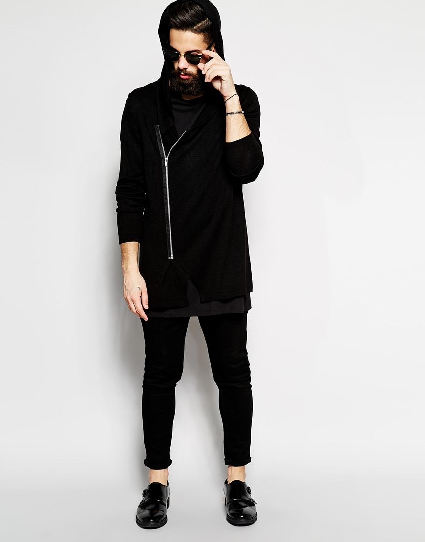 Asos Longline Hooded Cardigan With Zip in Black for Men | Lyst