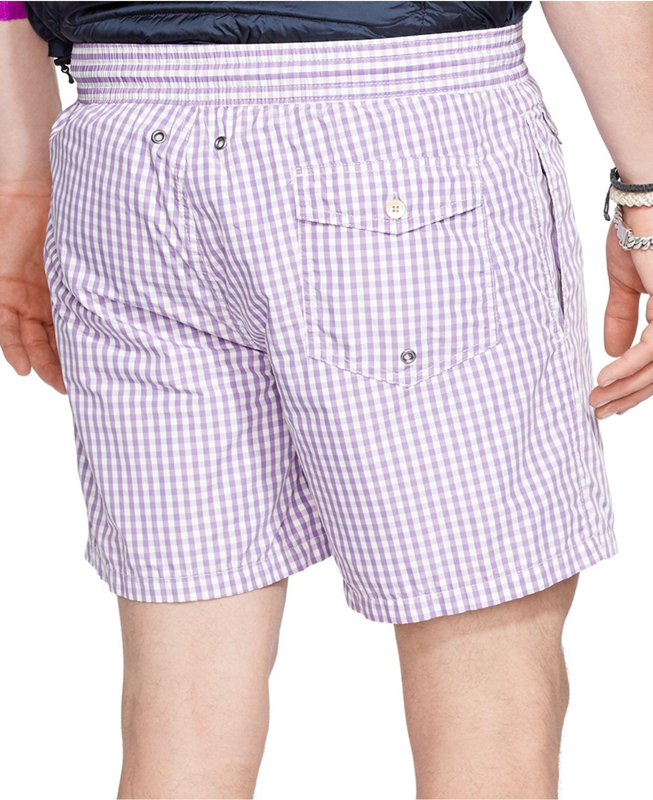 61158a865a ... discount lyst polo ralph lauren traveler gingham swim short in purple  for men f0959 26bf6