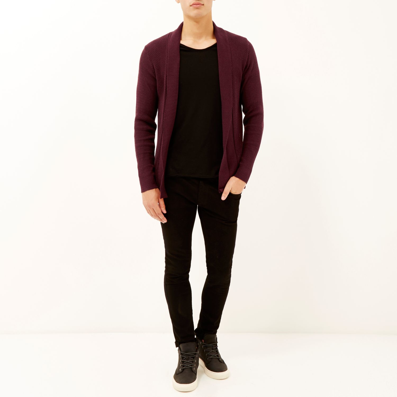 River island Dark Red Open Front Cardigan in Purple for Men | Lyst