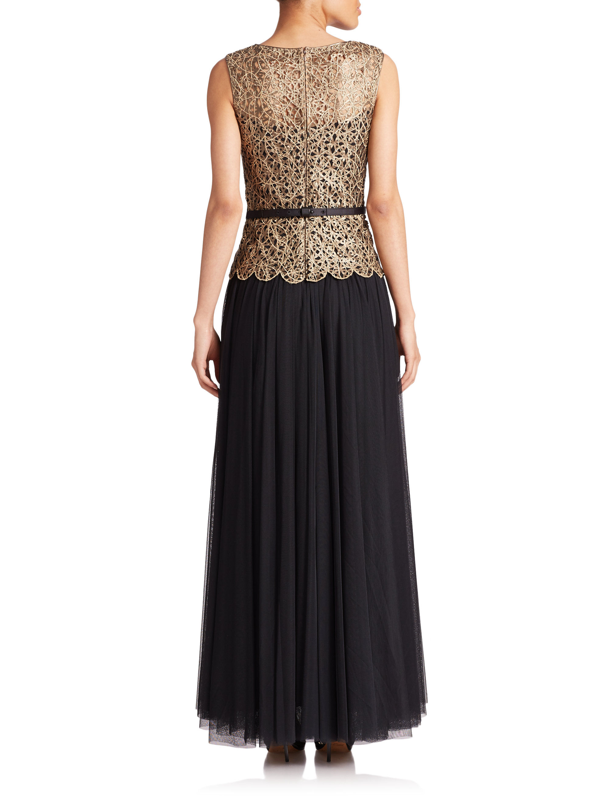 Lyst - Tadashi Shoji Belted Lace-top Gown in Metallic