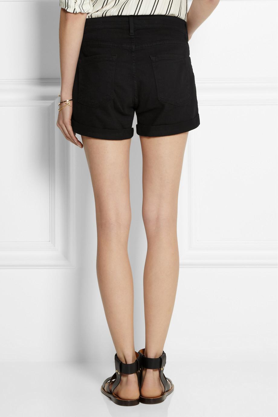 Frame Le Cutoff Stretch Denim Shorts in Black | Lyst