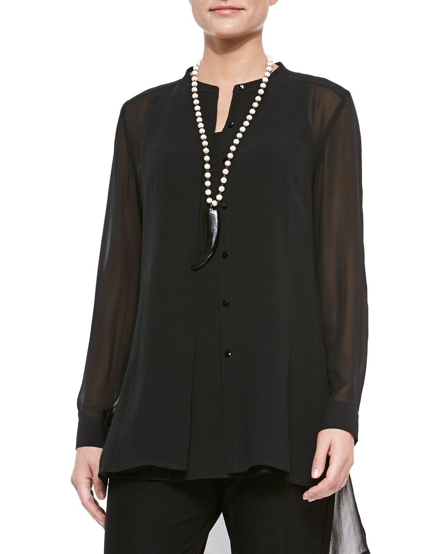 Eileen fisher long sleeve sheer silk long shirt in black for Silk long sleeve shirt