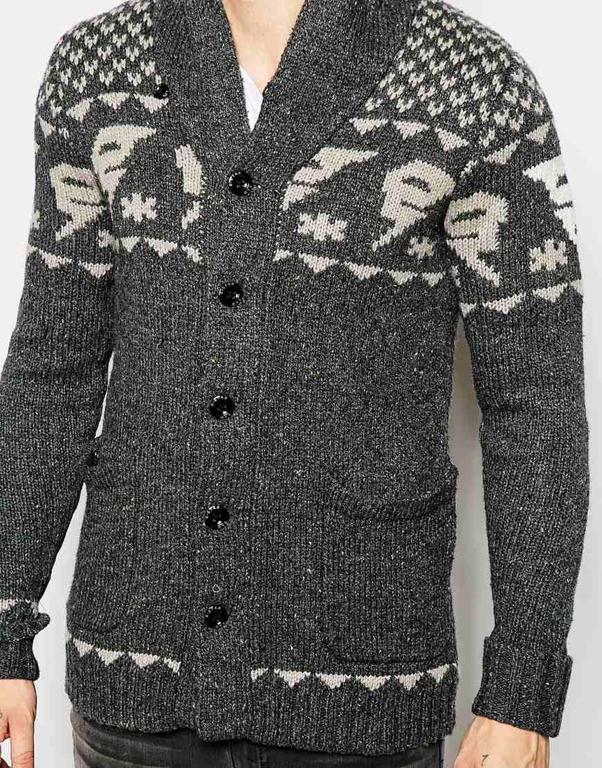 G-star raw Shawl Cardigan Draha Heavy Knit Wool Slub G Pattern in ...