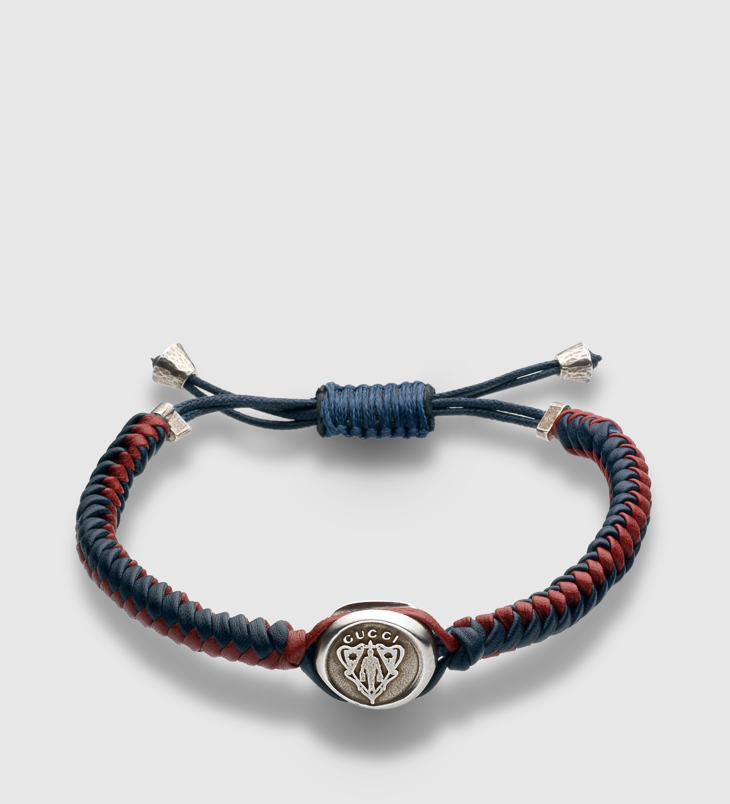 f1c2be3cf Gucci Woven Leather Bracelet With Crest Tag in Green for Men - Lyst