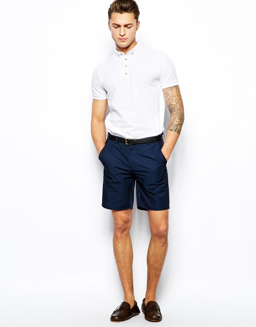 Asos Slim Fit Shorts In Navy in Blue for Men | Lyst