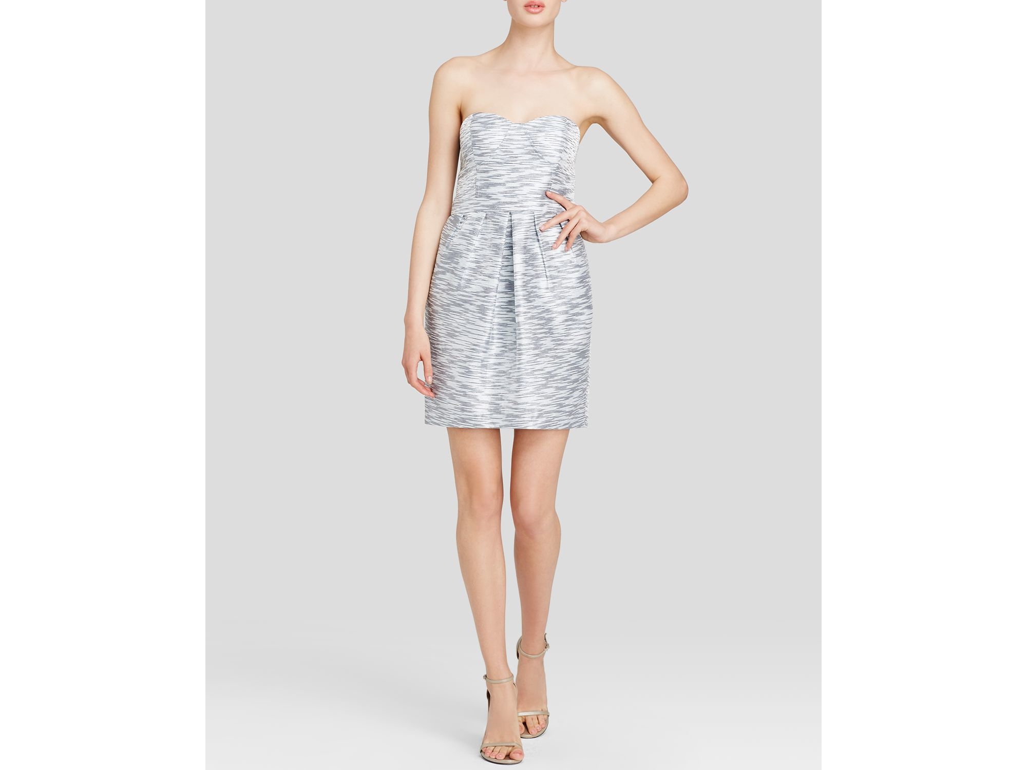 Aqua Dress Strapless Metallic Jacquard Fit And Flare In