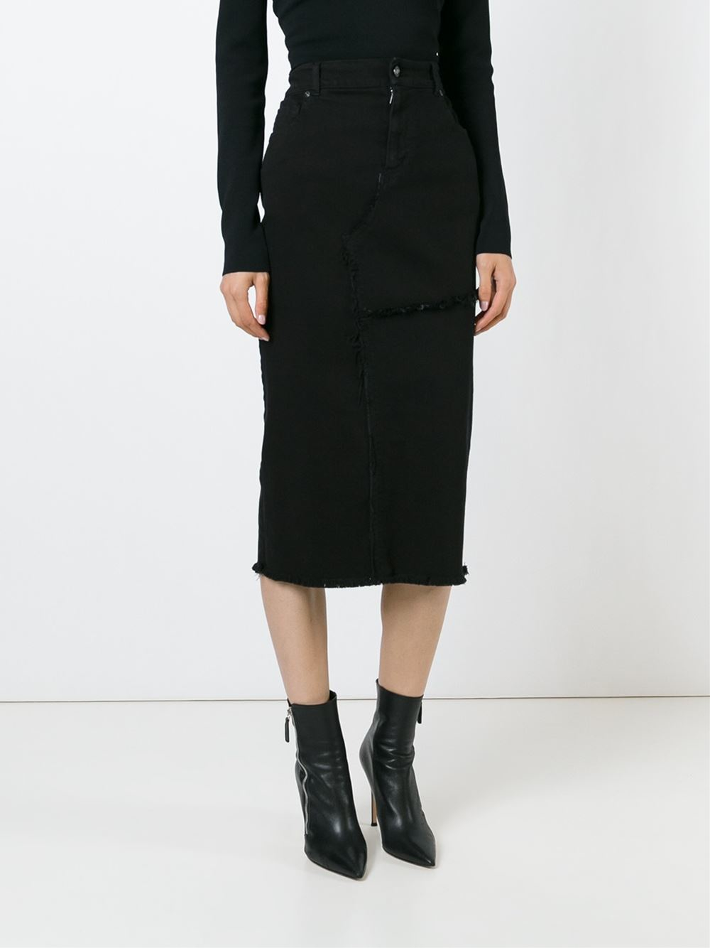 Tom ford Denim Midi Skirt in Black | Lyst