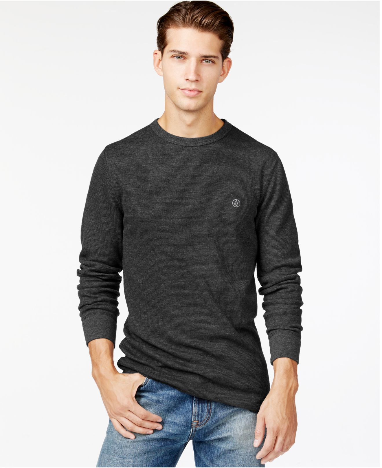 Volcom ceerow thermal long sleeve t shirt in black for men for Mens black thermal t shirts