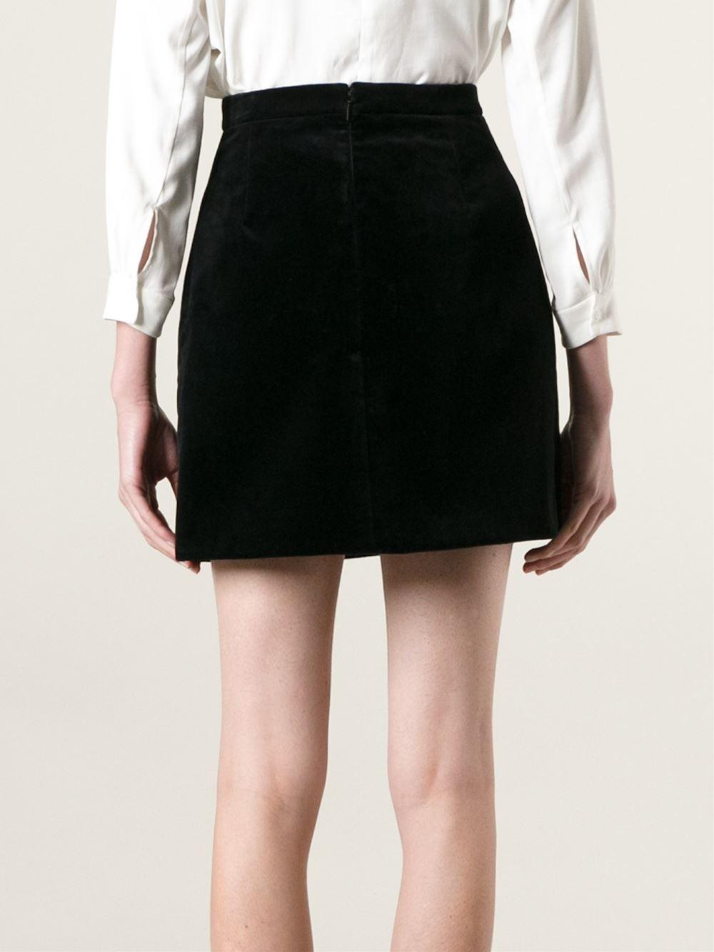 laurent velvet a line skirt in black lyst